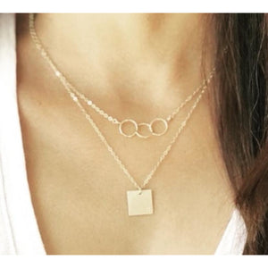 Bella Triple Hammered Circle Necklace