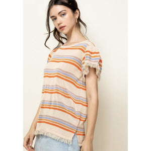 Alli Striped Fringe Sleeve THML Knit Top