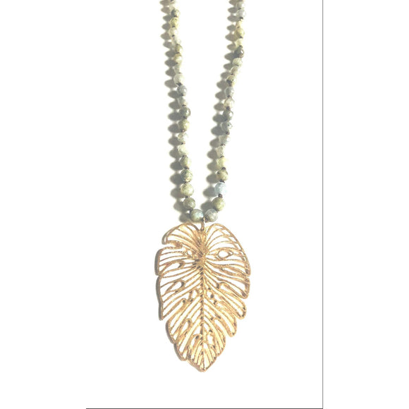 Brea Gold Leaf Pendant Beaded Labradorite Long Necklace