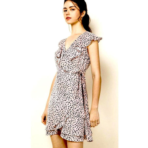 Anna THML Lilac Wrap Patterned Dress JH1356