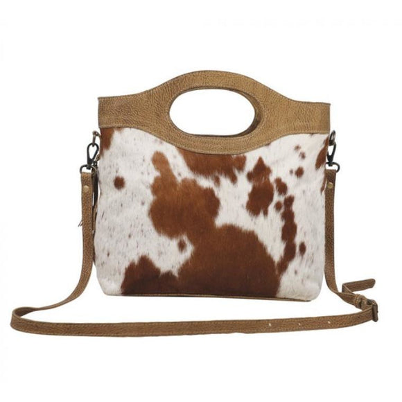 Brio Light Brown Cowhide Crossbody Handle Handbag