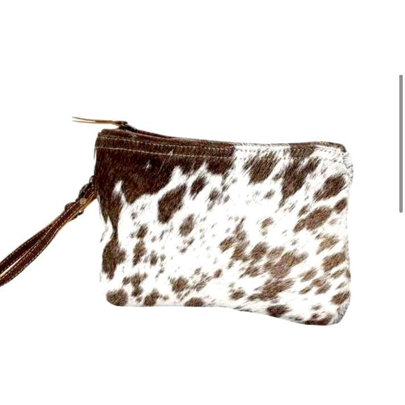Brio White and Brown Cowhide Wristlet Handbag