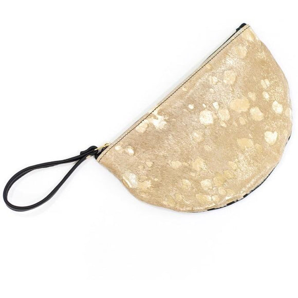 Andi Crescent B Cowhide Gold Wristlet
