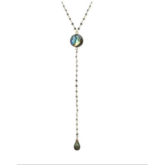 Acea Beaded Labradorite Y Long Necklace
