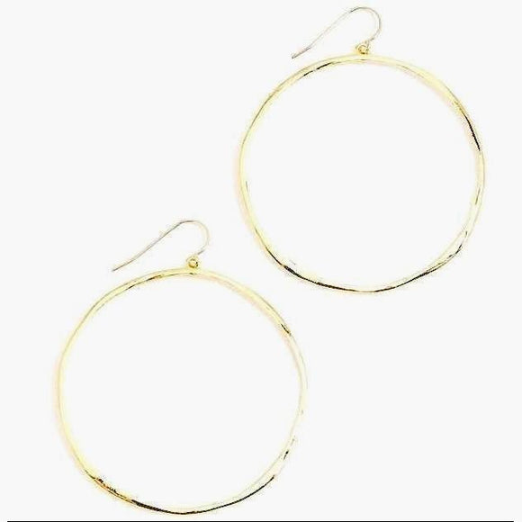 Bella New Hammered Gold Round Earrings