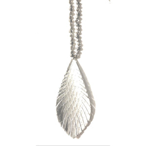 Alyssa Silver Feather Necklace