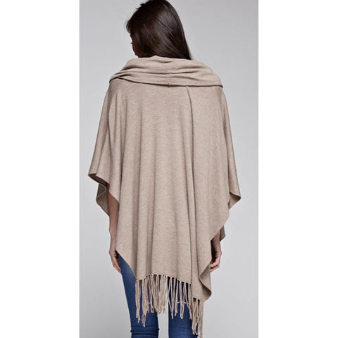 A Amelia Heather Brown Fringe Poncho Lovestitch