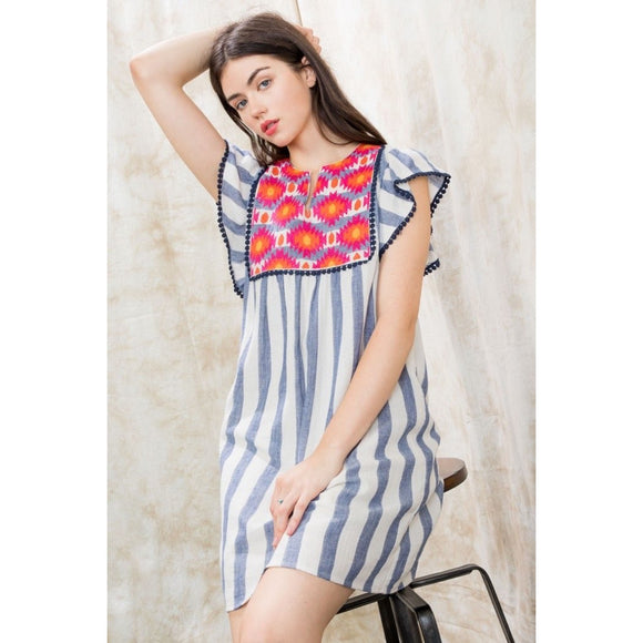 Dina THML Embroidered Stripe Dress