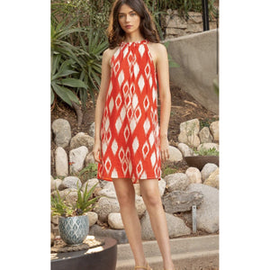 Alley THML Patterned Red Halter Dress-Fig Tree Jewelry & Accessories