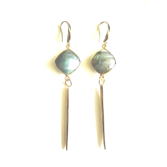 Bara Labradorite Gold Long Pendent Earrings