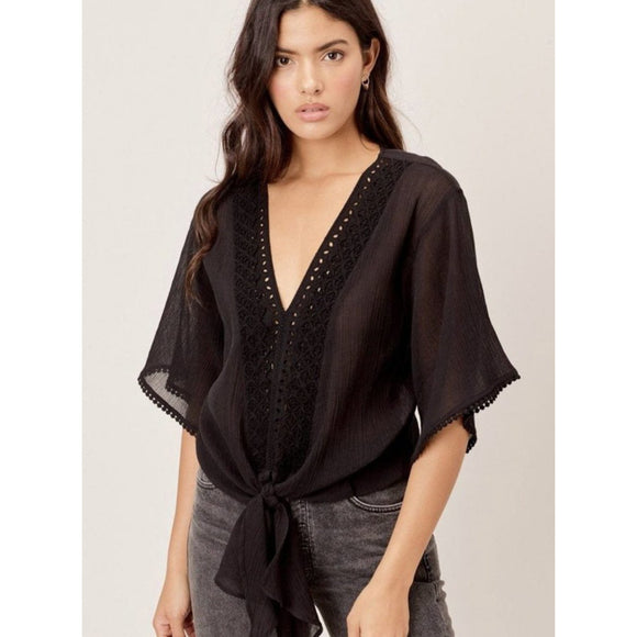 Amia Black Eyelet Tie Front Lovestitch Top