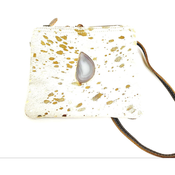 Brio Gold Agate Clutch Crossbody Handbag