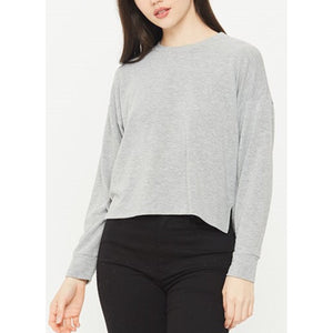 Chelsea Cropped Gray Crew Neck