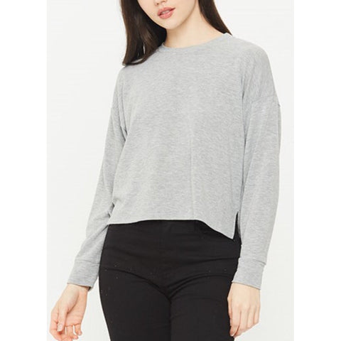 Chelsea  Heather Grey French Terry Cropped Crew Neck by Comune C19L66