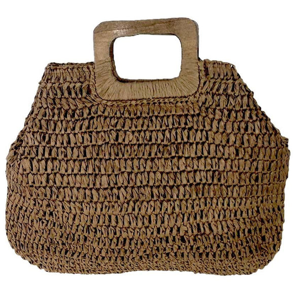 Colleen Brown Woven Handle Tote
