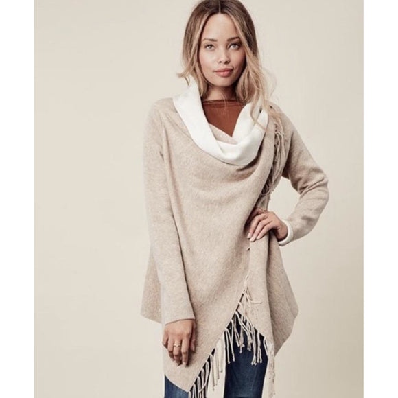 Carys Beige Fringe Sweater Lovestitch