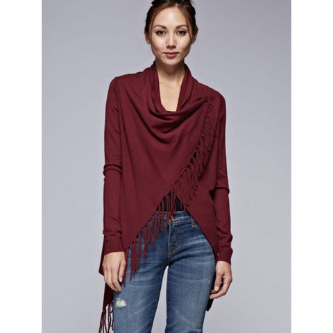 A Carys Wine Fringe Sweater Lovestitch