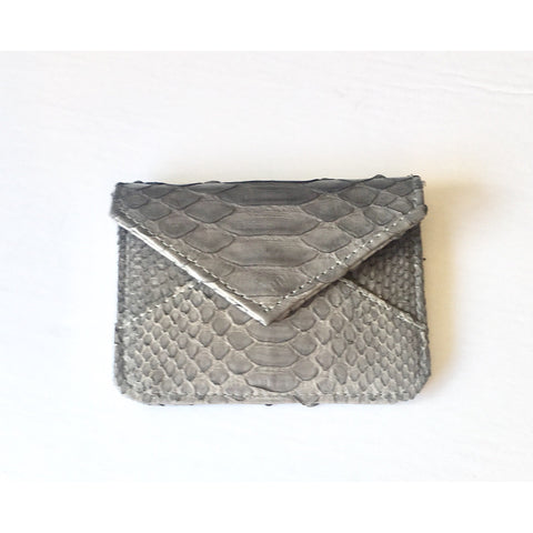 Abria Grey Small Python Card Holder