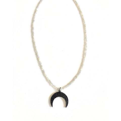 Alana Black Beaded Crescent Necklace