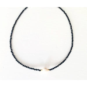 Lauren Pearl Black Crystal Beaded Choker Necklace