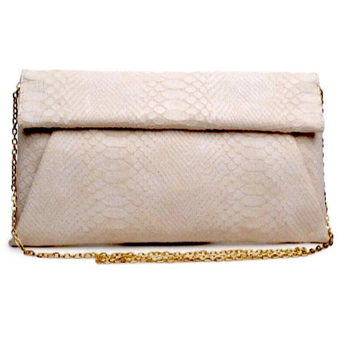 Emilia Cream Python Vegan Clutch Crossbody Handbag