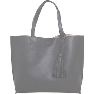 Chloe Grey Tassel Tote with Crossbody Inside Handbag