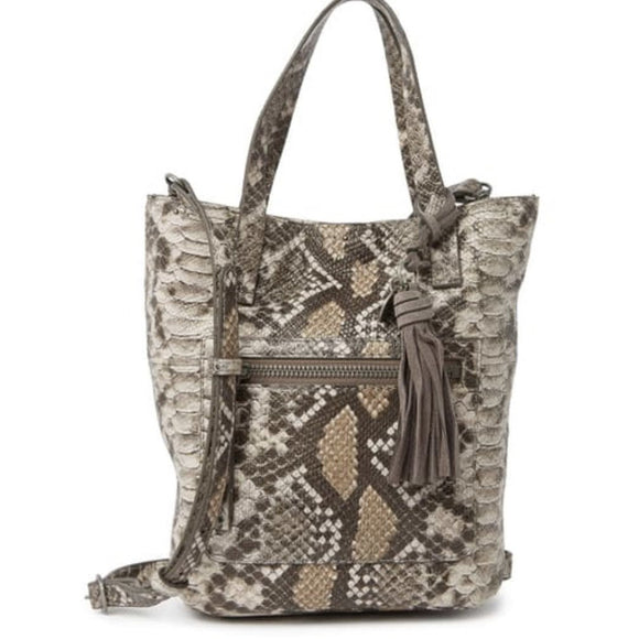Lucky Brand Small Snake Eddo Embossed Leather Tote Handbag