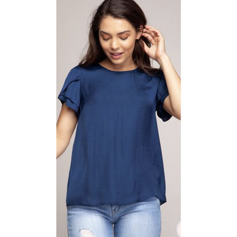 Brittany Navy Ruffle Top