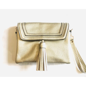 Brio Gold Foldover Tassel Crossbody Handbag-Fig Tree Jewelry & Accessories