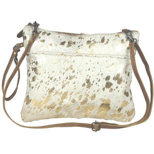 Brio Gold Cowhide Crossbody Handbag