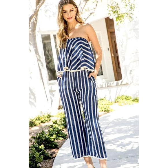 Faith THML Stripe Off-Shoulder Jumpsuit FTM1179