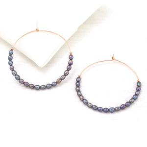 Addie Grey Pearl Gold Hoop Beaded Earrings