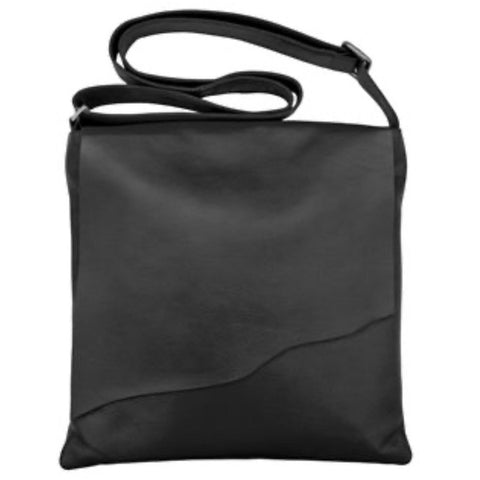 Kara Large Black Leather Raw Edge Flap Crossbody