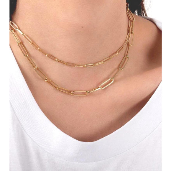Ann Paperclip Smaller or Larger Gold Necklace