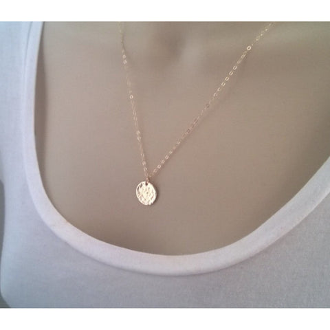 Ali Round Hammered Pendant Necklace