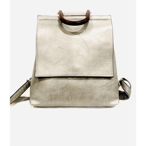 Dara Silver Vegan Leather Backpack