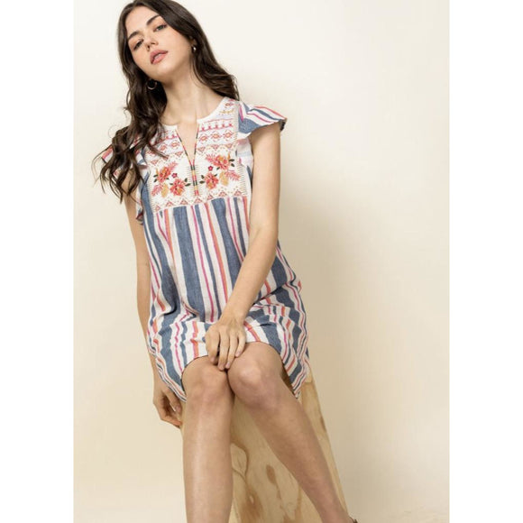 Bailey THML Flutter Sleeve Striped Embroidered Dress