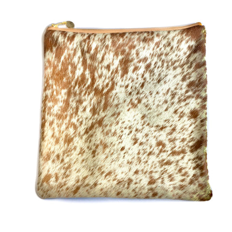 Cleo Brown Spotted Cowhide Leather Clutch Handbag