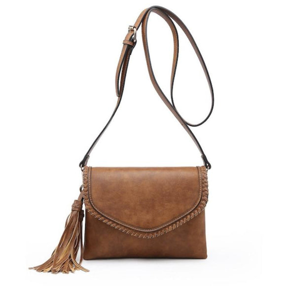 Fabiola Brown Whipstitch Crossbody/Clutch