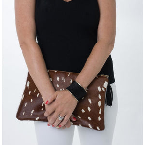 Lyn P Brown spotted Tassel Cowhide Clutch Handbag