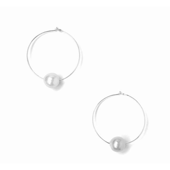 Addie Single Pearl Silver Hoop Earrings