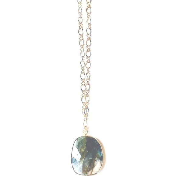 Ella Labradorite Drop Gold Necklace