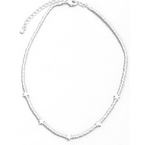 Lauren Star Choker Silver Beaded Necklace