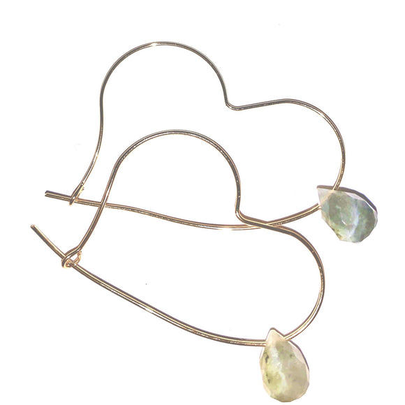 Allie Heart Labradorite Loop Thru Hoop Earrings