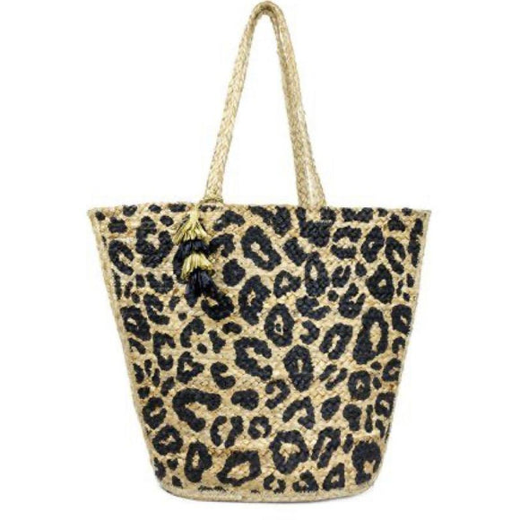 Adele Animal Print Straw Woven Tote