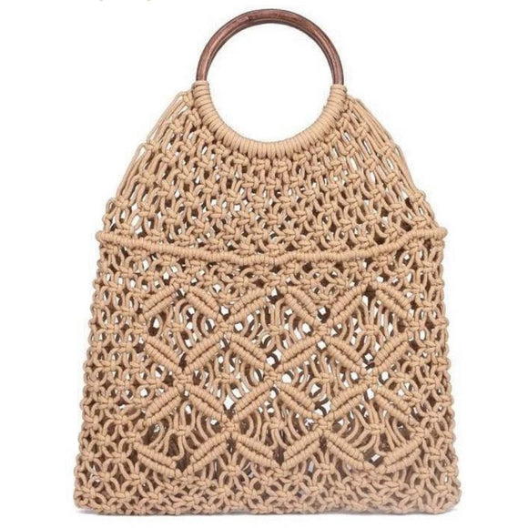 Amelia Light Brown Macrame Crochet Wooden Handle Tote
