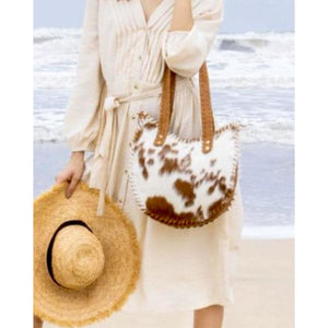 Layton Boho Brown Cowhide Leather Tote