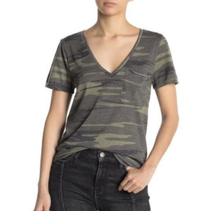 Caris Socialite Camo Short Sleeve V Neck T-Shirt