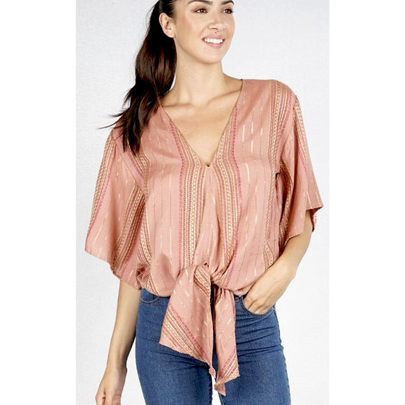 Allie Lurex Dusty Rose Tie Top Lovestitch :  I-11445W-QBP