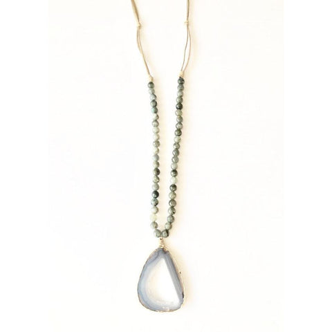 Abley Geode Moonstone and Suede Long Necklace